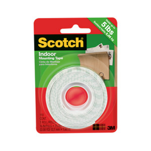 3M Double Sided Indoor Mounting Tape 1/2x75""