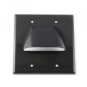 VANCO Custom Two-Piece Dual Gang Bulk Cable Wall Plate Black
