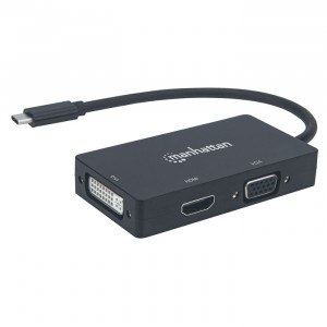 MANHATTAN USB-C 3-in-1 Multiport Converter HDMI, VGA or DVI