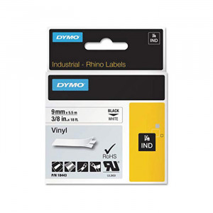 "DYMO Vinyl Labels 3/8"" Black on White"
