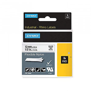 "DYMO Flexible Nylon Labels 1/2"" Black on White"