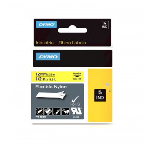 "DYMO Flexible Nylon Labels 1/2"" Black on Yellow"