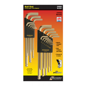 BONDHUS GoldGuard Ball End 22 piece Inch/Metric Hex Set