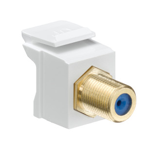 LEVITON Feedthrough QuickPort F-Connector, Gold Plated, White Housing