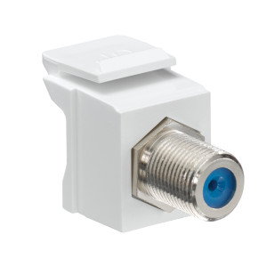 LEVITON Feedthrough QuickPort F-Connector, Nickel Plated, White Housing