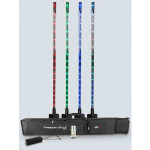 CHAUVET Set of 4 RGB LED Stick Lights with Remote, Multi-charger and Carry Bag