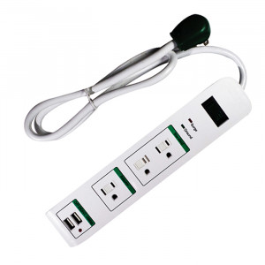 GO GREEN 3-Outlet Strip with Surge Protection and 2 USB Ports 3ft cord