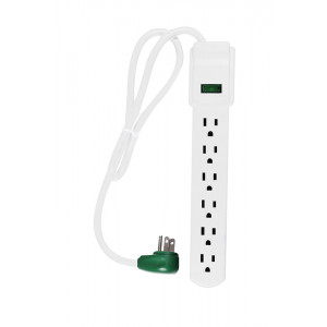 GO GREEN 6-Outlet Surge Protector 90 Joules 2.5ft cord White