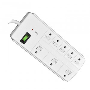 GO GREEN 8-Outlet Surge Protector 750 Joules White 6ft Cord