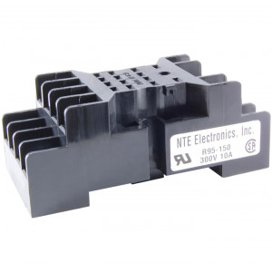 NTE 8-Pin Miniature Relay Socket Panel/DIN Rail Mountable
