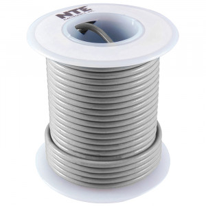 NTE Hook-up Wire 26 AWG Solid 25ft Gray