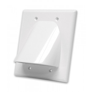 VANCO White Dual Gang Bulk Cable Wall Plate